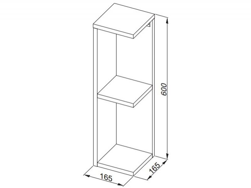 Desen tehnic, dulap suspendat de colţ, FLEX, h.60 cm, alb