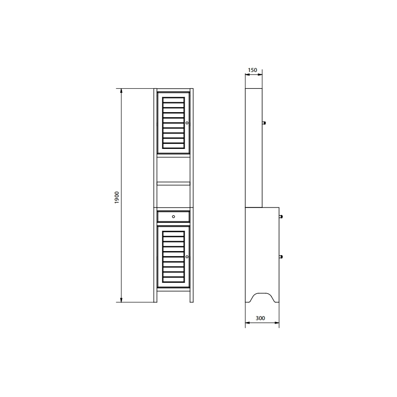 Dulap inalt, stativ, cu sertar, 190 cm, wenge, Mocca