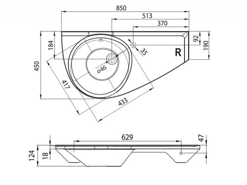 Desen tehnic lavoar AVOCADO