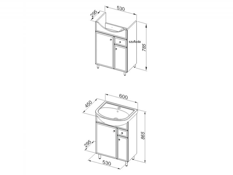 Desen tehnic, set mobilier de baie, Dallas