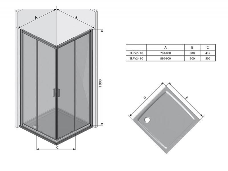 Desen tehnic cabina de dus, BLIX BLRV2