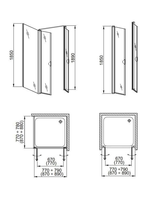 Desen tehnic, uşi pentru cabină de duş, GLASS 5