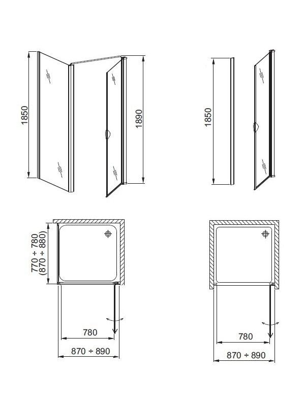 Desen tehnic, uşă duş GLASS 5
