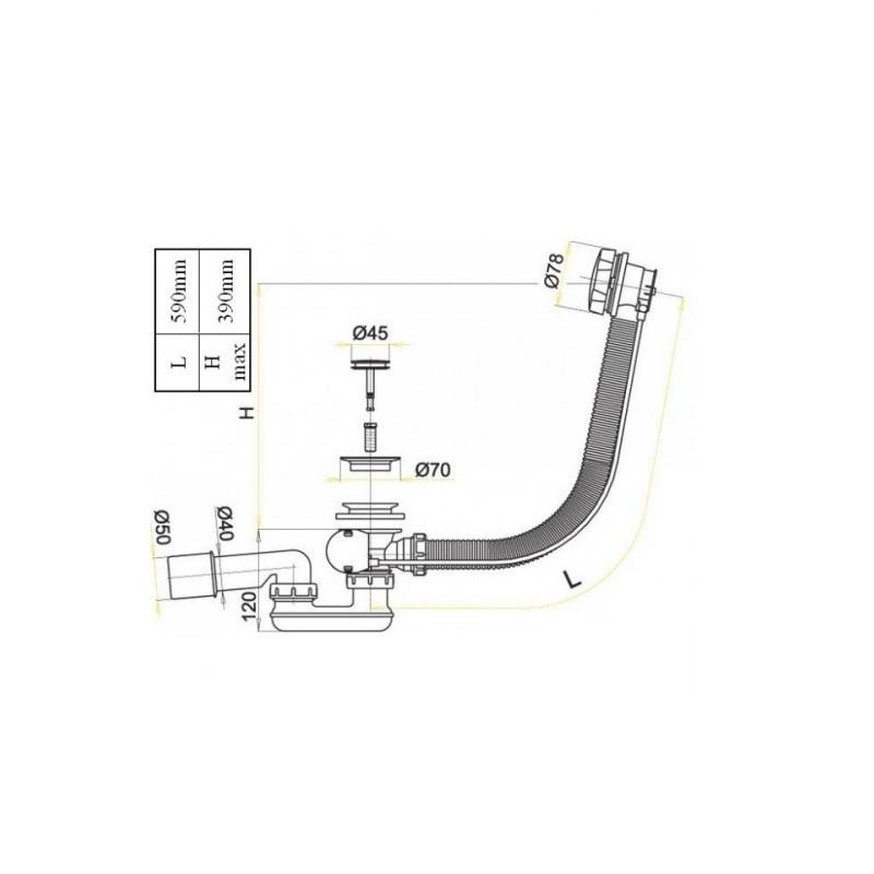 Instalatie de cada cu sifon, Aquaform, alb
