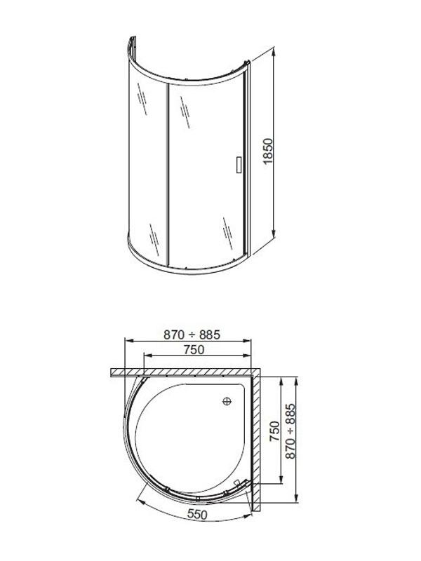 Desen tehnic, cabina semirotunda din doua panouri sticla, LAZURO