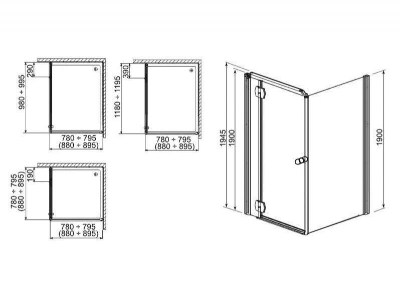 Desen tehnic, usa cabina dus, pentru perete sticla, SOL DE LUXE, 80 x 190 cm