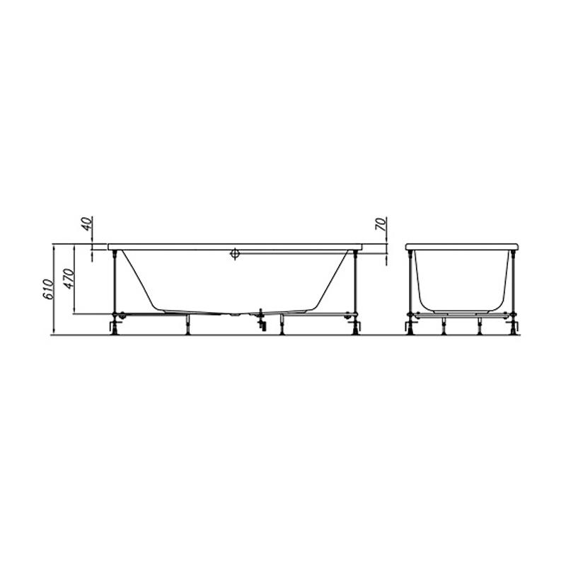 Cada dreptunghiulara Kolpasan, Elektra, 170 x 75 cm, acril