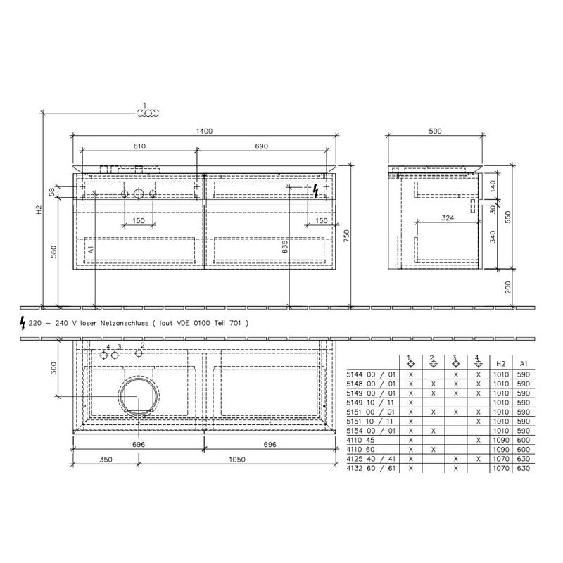 Mobilier suspendata pentru lavoar, 4 sertare, alb lucios, 140 cm, Legato