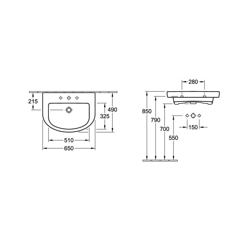 Lavoar suspendat, 65 cm, alb alpin, Subway 2.0