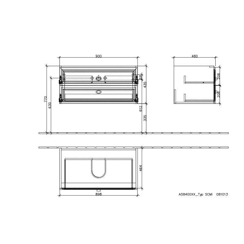 Mobilier suspendat pentru lavoar, 2 sertare, 90 cm, alb, La Belle