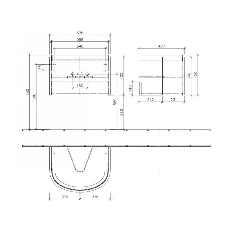 Mobilier suspendat pentru lavoar, 64 cm, gri lucios, Subway 2.0