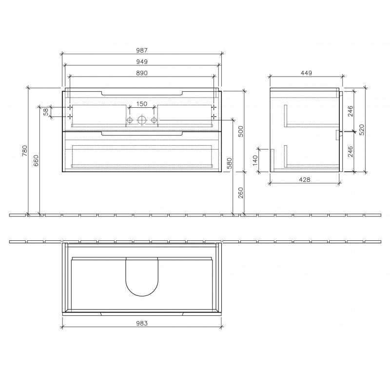 Mobilier suspendat pentru lavoar, 2 sertare, 100 cm, alb lucios, Subway 2.0