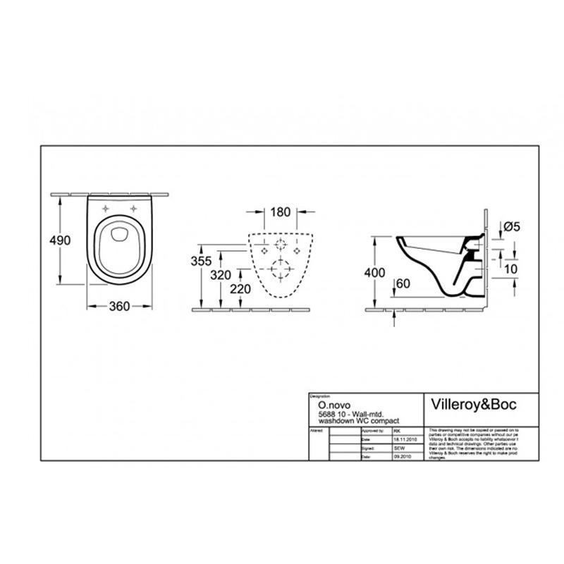 Schita tehnica Set vas WC suspendat, cu capac soft close, O. Novo