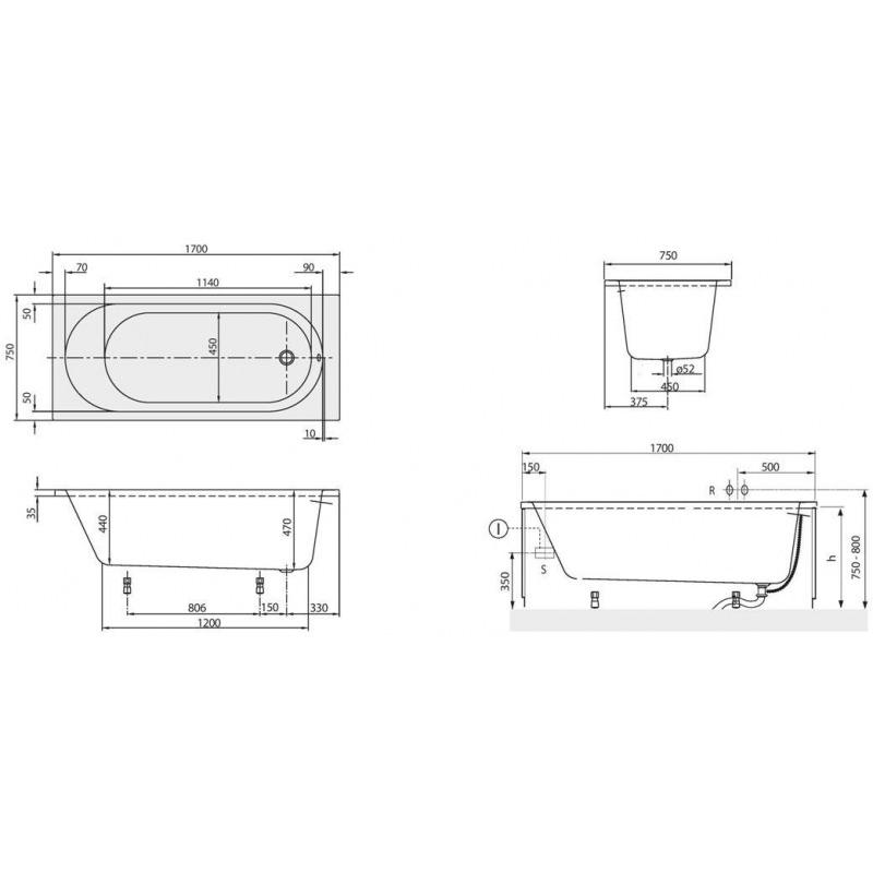 Cada dreptunghiulara, pentru inzidire, 170 x 75 cm, alb, O. Novo