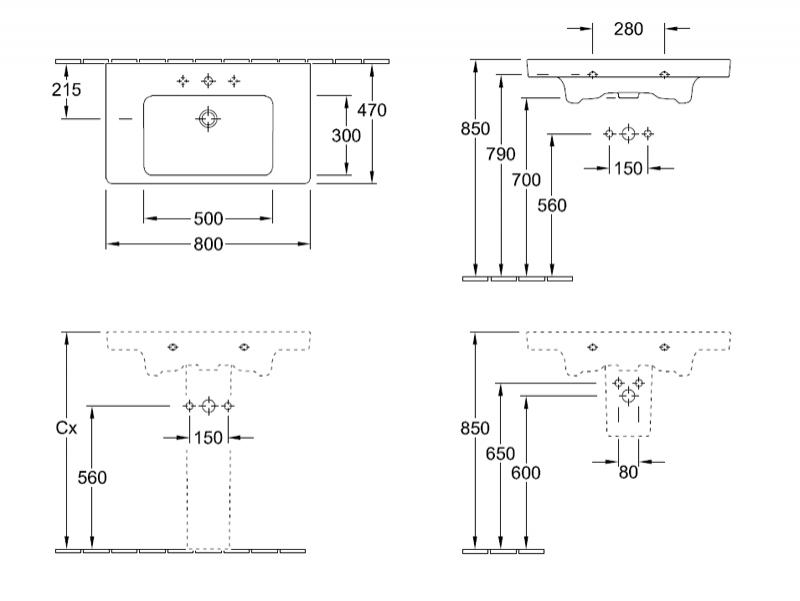 Desen tehnic lavoar pentru mobilier Subway 2.0