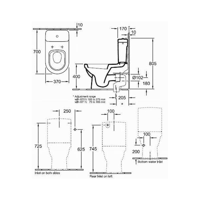 Rezervor monobloc pentru vas WC compact, Arhitectura