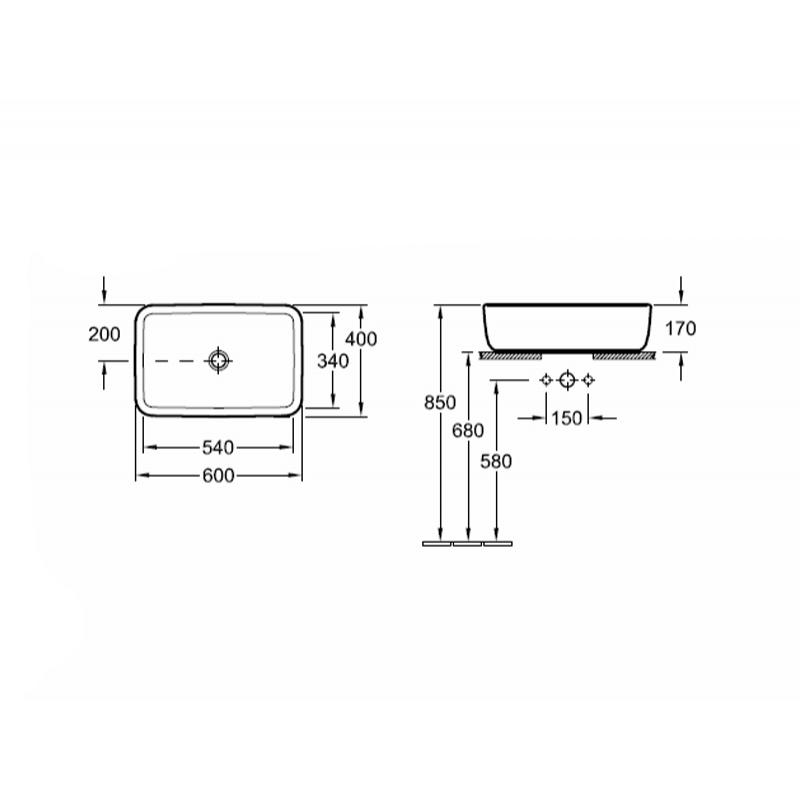 Lavoar dreptunghiular, pe blat, 60 cm, alb alpin, Arhitectura
