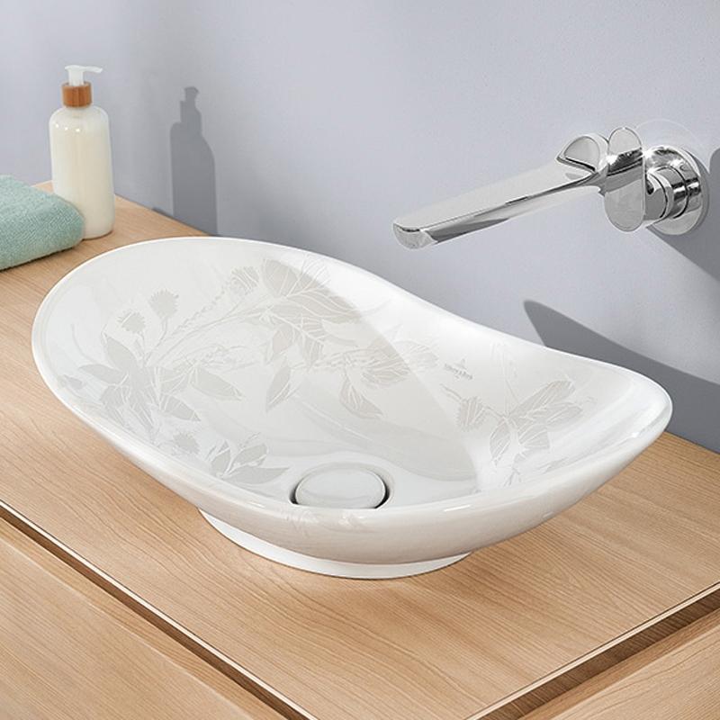 Lavoar pe blat, oval, alb imprimat, 61 cm, My Nature