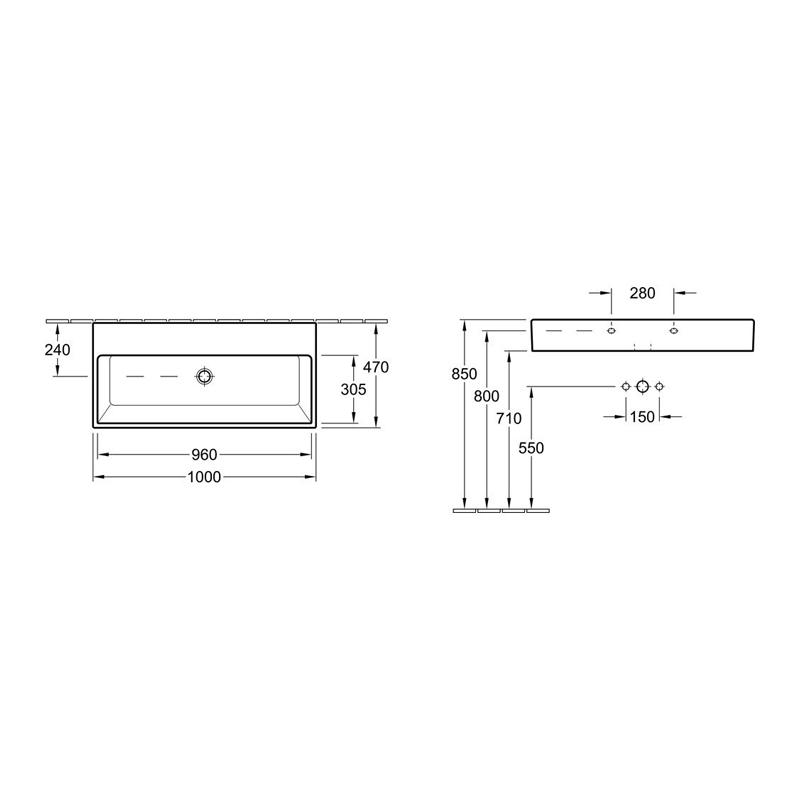 Lavoar suspendat, dreptunghiular, 100 cm, alb alpin, Memento