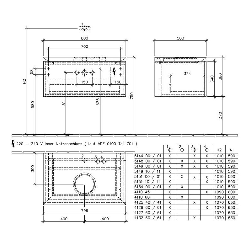 Mobilier suspendat pentru lavoar, un sertar, 80 cm, elm impresso, Legato