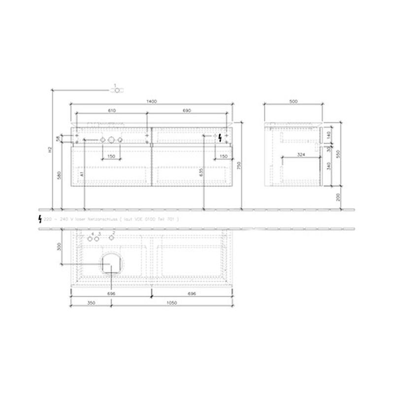 Mobilier suspendat pentru lavoar, cu iluminare, alb lucios, 140 cm, Legato
