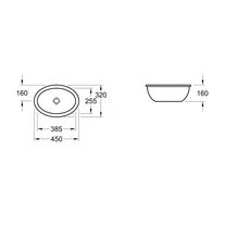Lavoar sub blat, oval, fara preaplin, 40 cm, Loop & Friends