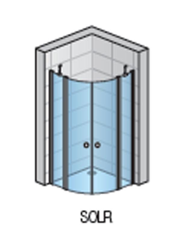 Cabina dus semirotunda, profil lucios, 80 x 80 cm, SOLINO