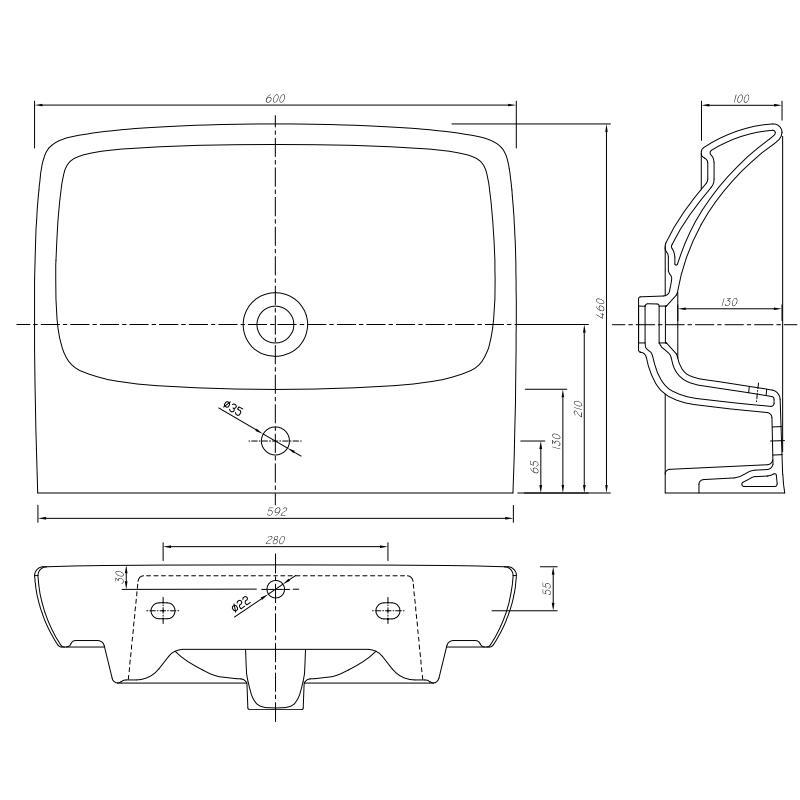 Set lavoar rectangular si mobilier pentru lavoar, 60 cm, gri cenusiu, Nova Pro