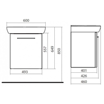 Set lavoar rectangular si mobilier pentru lavoar, 60 cm, alb, Nova Pro