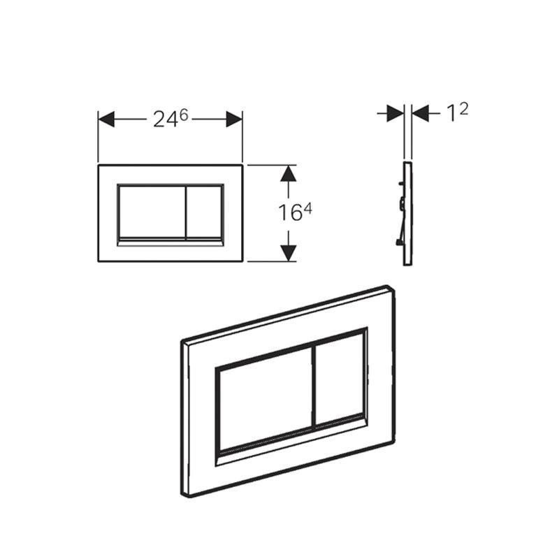 Desen tehnic clapeta cu actionare dubla Geberit, Sigma30, cromat mat