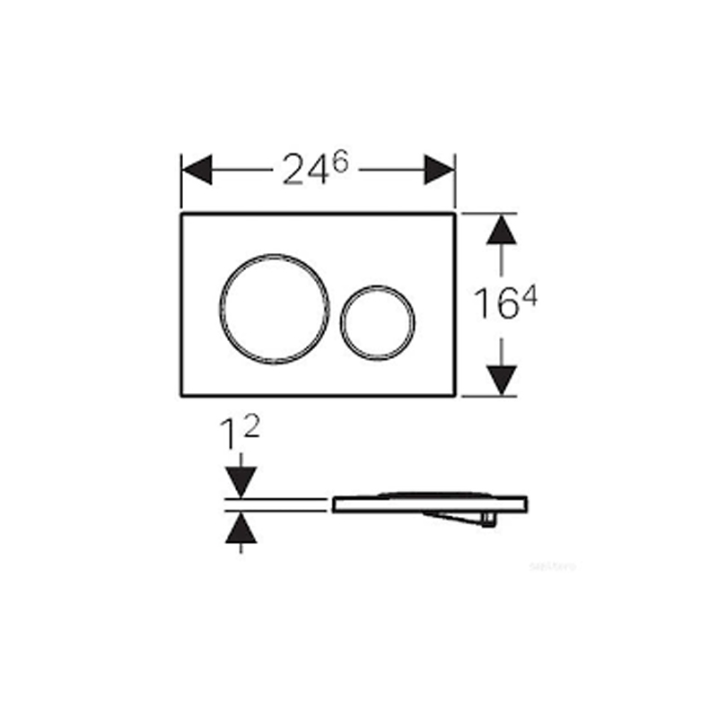 Desen tehnic clapeta cu actionare dubla Geberit, Sigma20, negru