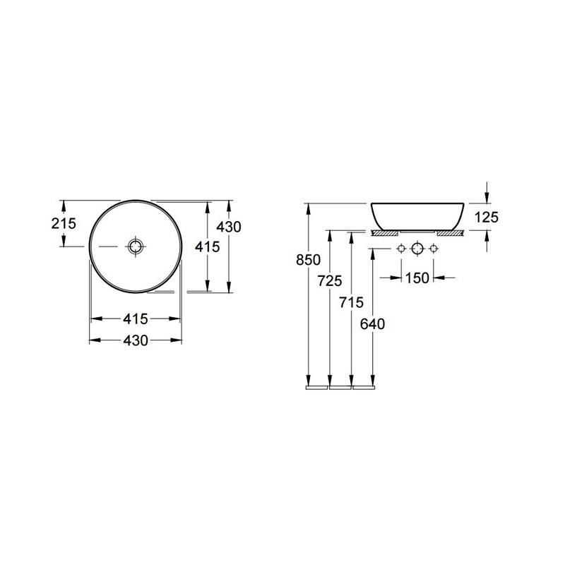 Schita-tehnica-Lavoar-pe-blat-Villeroy-Boch-Artis