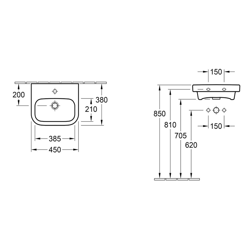 Lavoar suspendat, 45 cm, alb, Architectura