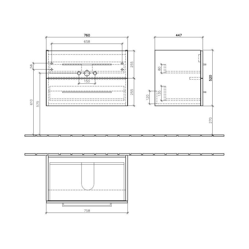 Mobilier suspendat cu 2 sertare, 76 cm, crystal grey, Avento