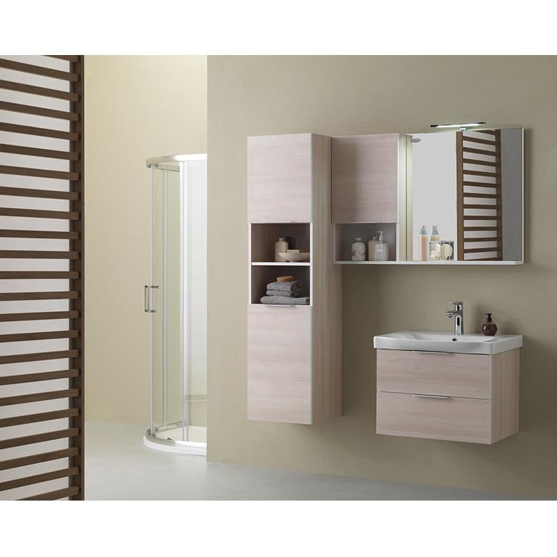 Mobilier pentru lavoar cu sertar, 80 cm, acacia light + Lavoar 80 cm, alb, Lana