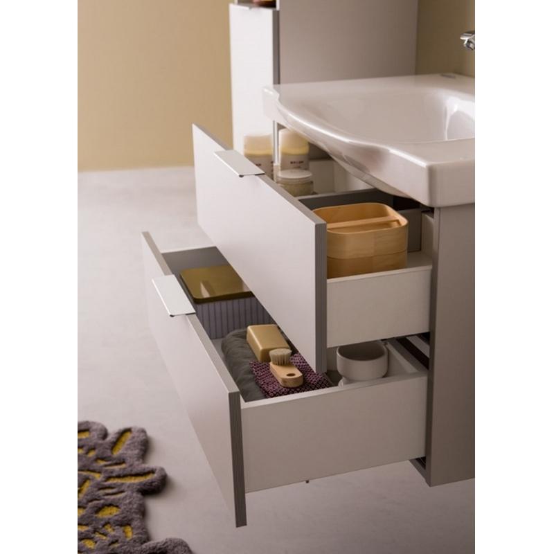 Mobilier pentru lavoar cu sertar, 65 cm, gri + Lavoar 65 cm, alb, Lana