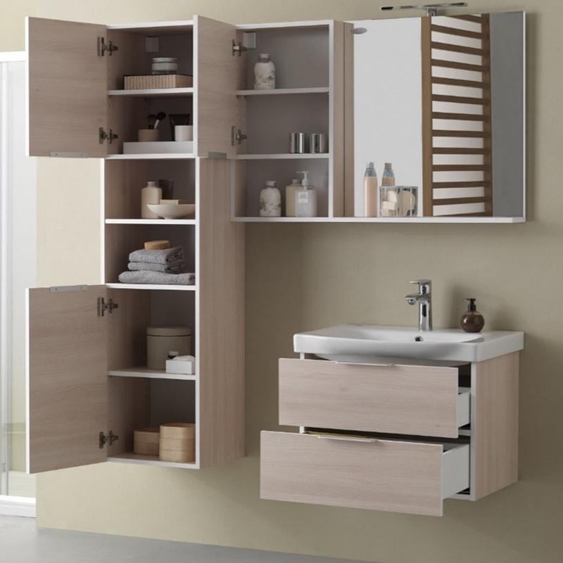 Mobilier pentru lavoar cu sertar 65 cm, lemn deschis + Lavoar 65 cm, alb, Lana