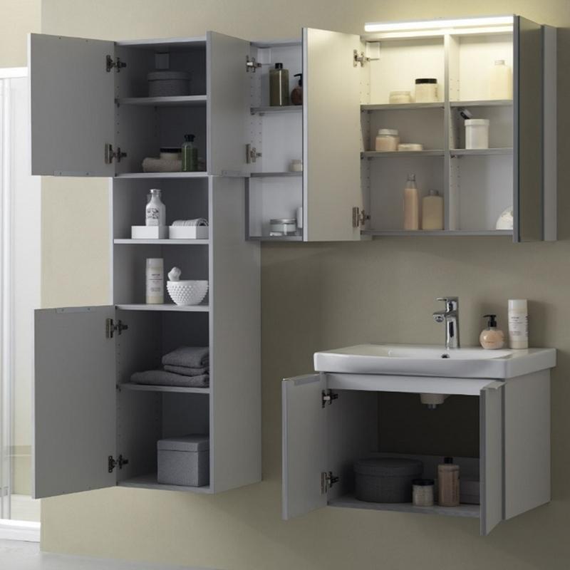 Mobilier pentru lavoar cu usa 65 cm, gri + Lavoar 65 cm, alb, Lana