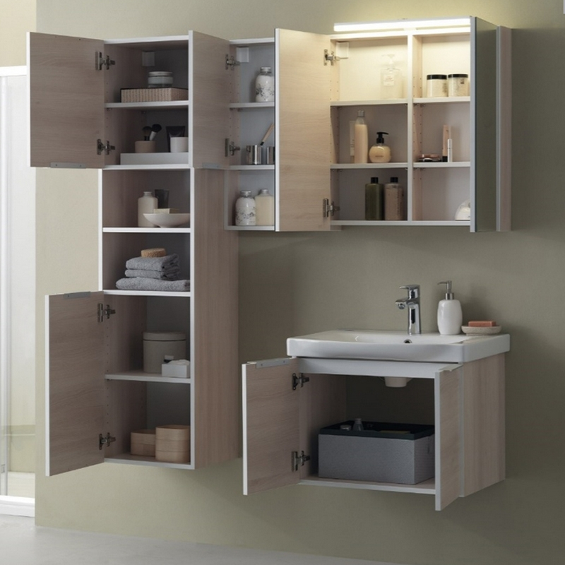 Mobilier pentru lavoar cu usa 65 cm, lemn deschis + Lavoar 65 cm, alb, Lana