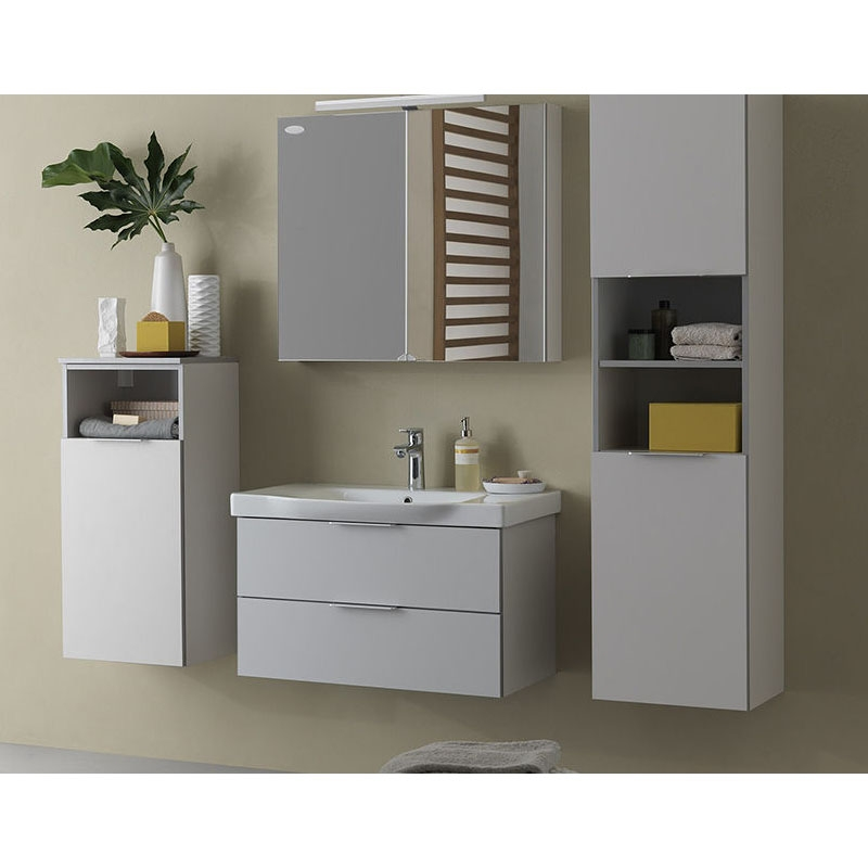 Oglinda cu dulap Kolpasan, Lana, 65 cm, gri deschis