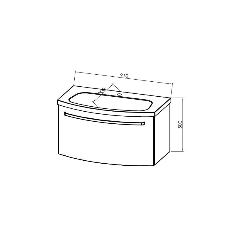 Mobilier pentru lavoar, 90 cm, rosu + Lavoar pentru mobilier, 90 cm, alb, Adele