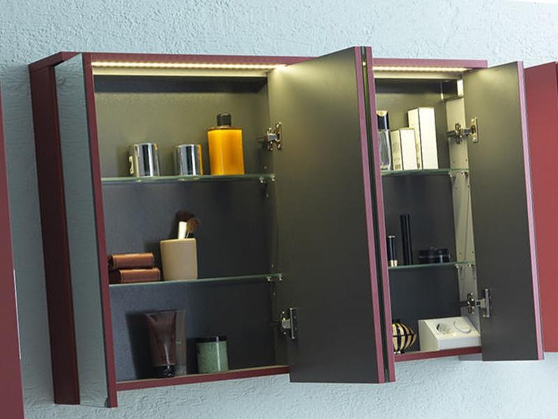 Dulap cu oglinda, cu iluminare integrata, 110 cm, rosu, Adele