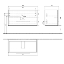 Mobilier suspendat cu 2 sertare, 96 cm, crystal grey, Avento