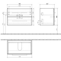 Mobilier suspendat cu 2 sertare, 76 cm, alb, Avento