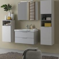 Mobilier pentru lavoar cu sertar 80 cm, gri + Lavoar 80 cm, alb, Lana