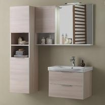 Oglinda, 80 cm, cu led, lemn deschis, Lana