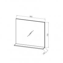 Oglinda cu polita Kolpasan, pentru mobilier Lana, 80 cm, lemn deschis