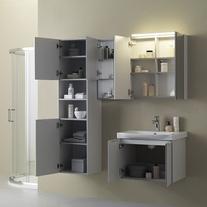 Mobilier pentru lavoar, cu usa, 80 cm, gri + Lavoar 80 cm, alb, Lana