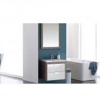Set mobilier suspendat, lavoar si oglinda Kolpasan, Sara, 62 cm