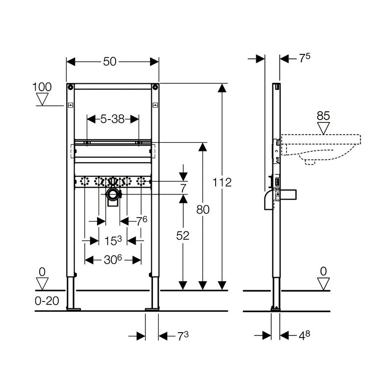 Rama Duofix pentru lavoar, 112 cm